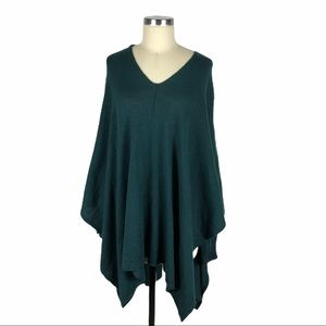 RDI Green Knit Poncho V-Neck Long Sleeves Large